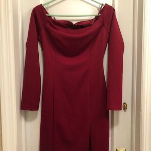 Formal Maroon Dress with Open back and front slit